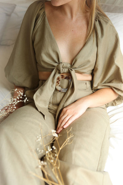 Jawor Khaki Knotted Crop Top on model