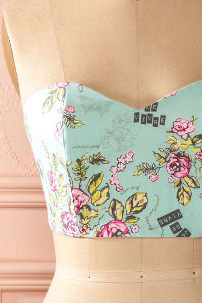 Jayne Joie Aqua - Turquoise floral print bustier top