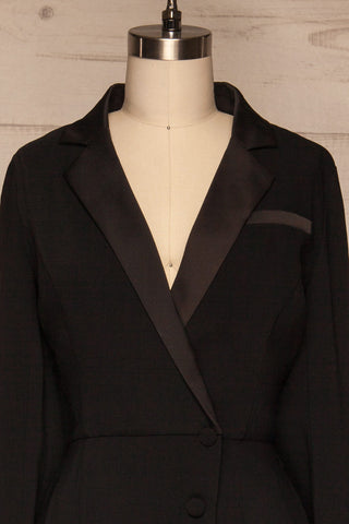 Jekaterina Black Tuxedo Romper | Combishort | La Petite Garçonne front close-up