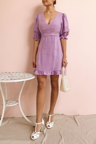 Jeneva Lilac Short Dress w/ Ruffles | Boutique 1861 model look
