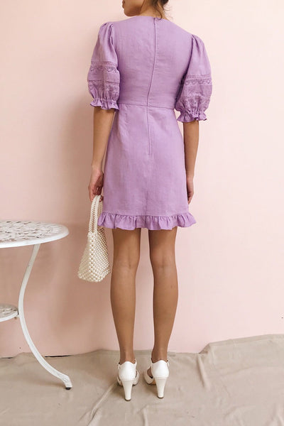 Jeneva Lilac Short Dress w/ Ruffles | Boutique 1861 model back