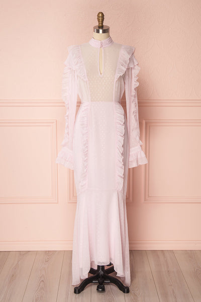 Jenyse Light Pink Shimmer & Frills Maxi Dress | Boutique 1861