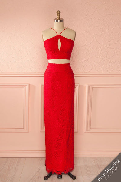 Jerika Red - Lace crop top and maxi fitted skirt