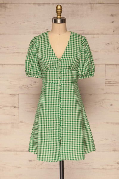 Jirina Green Gingham Short Dress | La petite garçonne front view