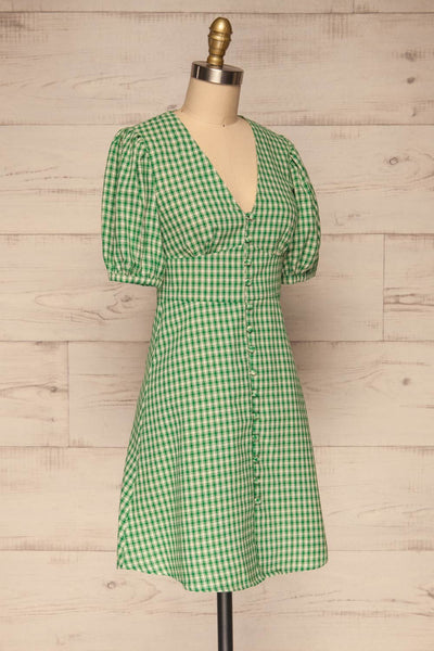 Jirina Green Gingham Short Dress | La petite garçonne side view