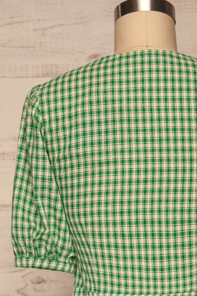 Jirina Green Gingham Short Dress | La petite garçonne back close up