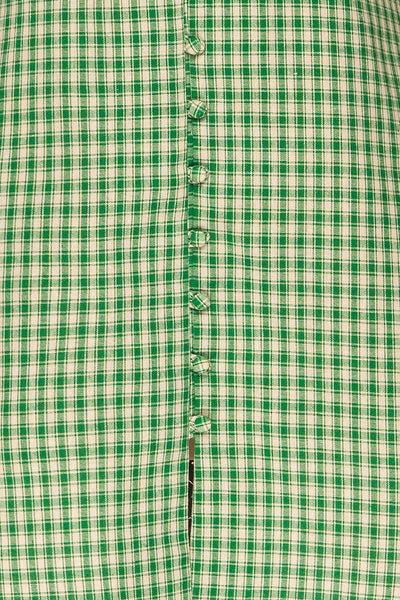 Jirina Green Gingham Short Dress | La petite garçonne fabric