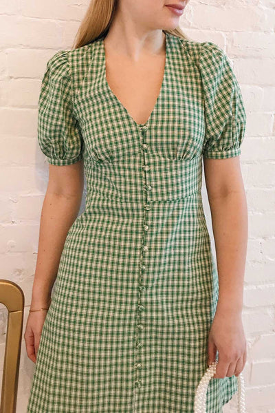 Jirina Green Gingham Short Dress | La petite garçonne on model