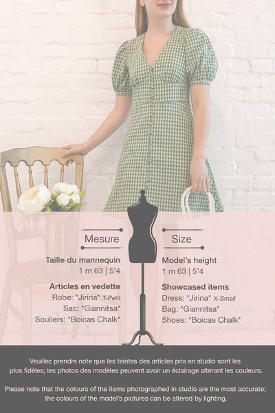 Jirina Green Gingham Short Dress | La petite garçonne template