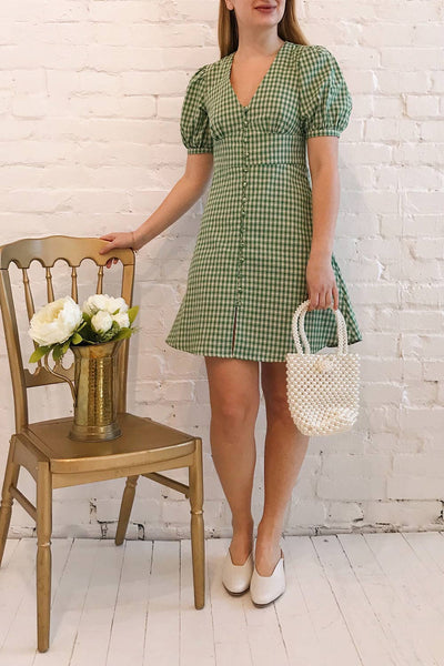 Jirina Green Gingham Short Dress | La petite garçonne model look 2