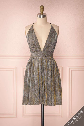 Jisabel Silvery & Golden Shiny Party Dress | Boutique 1861