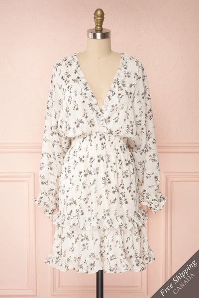 Joanie White Puffy Sleeve Floral Dress | Boutique 1861 front view FS