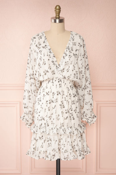 Joanie White Puffy Sleeve Floral Dress | Boutique 1861 bottom