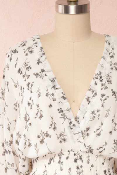 Joanie White Puffy Sleeve Floral Dress | Boutique 1861 front close up