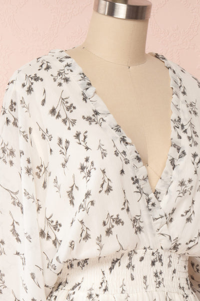 Joanie White Puffy Sleeve Floral Dress | Boutique 1861 side close up
