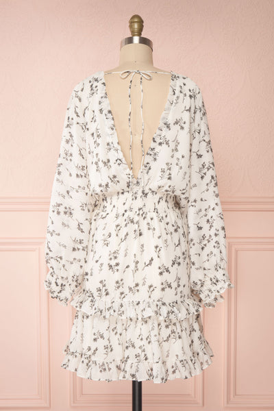 Joanie White Puffy Sleeve Floral Dress | Boutique 1861 back view
