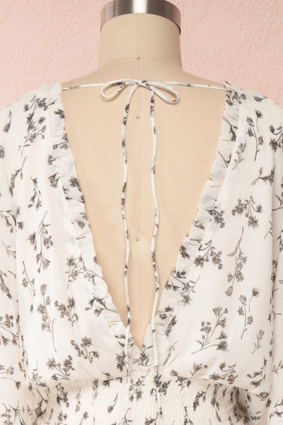 Joanie White Puffy Sleeve Floral Dress | Boutique 1861 back close up