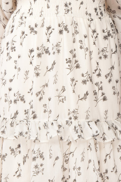 Joanie White Puffy Sleeve Floral Dress | Boutique 1861 fabric