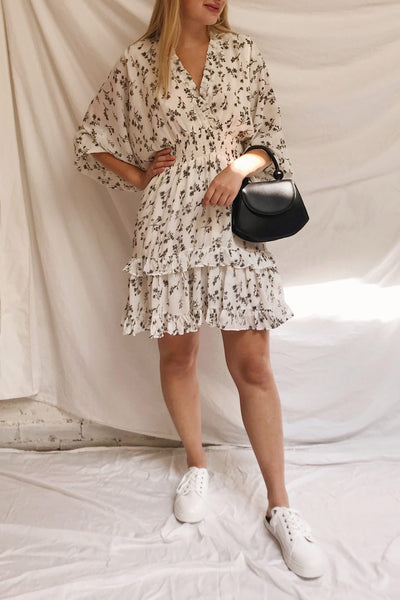 Joanie White Puffy Sleeve Floral Dress | Boutique 1861 model look