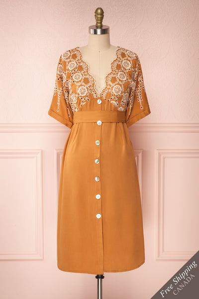 Jodie Camel Orange Button-Up Midi Dress | Boutique 1861 front view