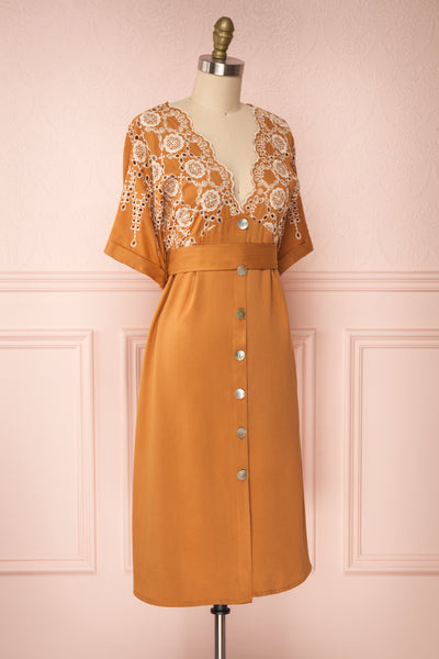 Jodie Camel Orange Button-Up Midi Dress | Boutique 1861 side view