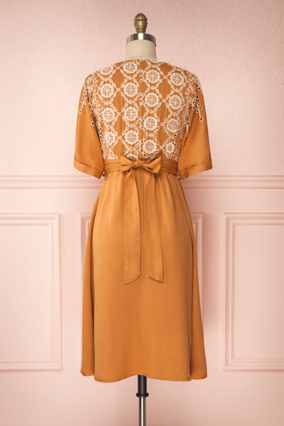 Jodie Camel Orange Button-Up Midi Dress | Boutique 1861 back view