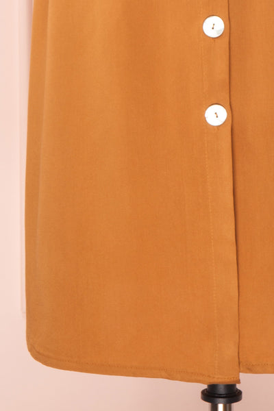 Jodie Camel Orange Button-Up Midi Dress | Boutique 1861 bottom