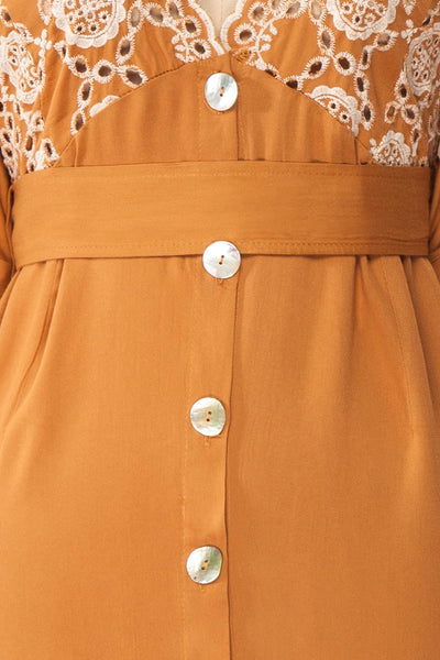 Jodie Camel Orange Button-Up Midi Dress | Boutique 1861 fabric