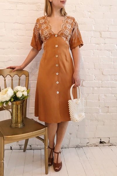 Jodie Camel Orange Button-Up Midi Dress | Boutique 1861 model look