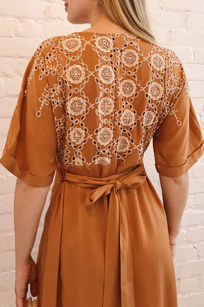 Jodie Camel Orange Button-Up Midi Dress | Boutique 1861 on model