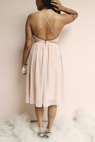 Joelle Blush Chiffon Cocktail Dress | Robe photo back | Boutique 1861