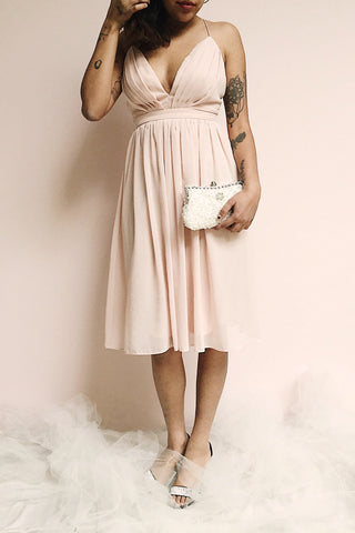 Joelle Blush Chiffon Cocktail Dress | Robe photo | Boutique 1861