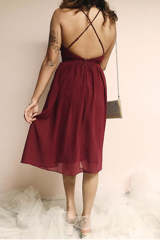 Joelle Burgundy Chiffon Cocktail Dress | Robe photo back | Boutique 1861