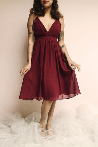 Joelle Burgundy Chiffon Cocktail Dress | Robe photo | Boutique 1861