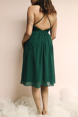 Joelle Emerald Chiffon Cocktail Dress | Robe photo back | Boutique 1861