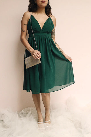 Joelle Emerald Chiffon Cocktail Dress | Robe photo | Boutique 1861