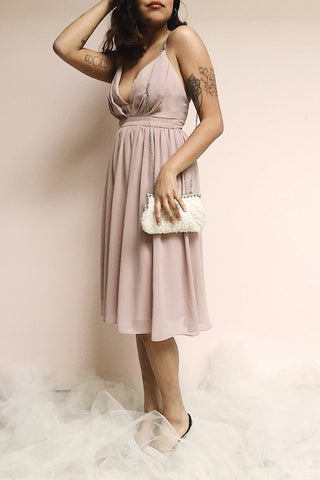 Joelle Mauve Chiffon Cocktail Dress | Robe photos | Boutique 1861