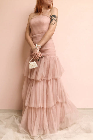 Johanne Nude Pink Layered Tulle Mermaid Dress | Boutique 1861 on model