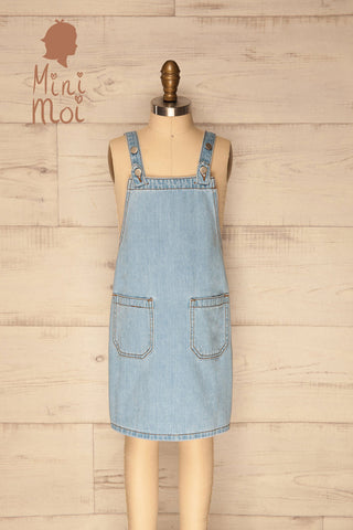 Joncy Mini Kids Pale Blue Denim Pinafore | La Petite Garçonne