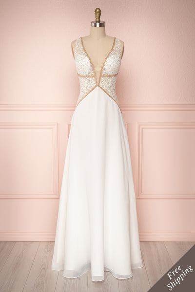 Jonhgan Ivory Embroidered Maxi Bridal Dress | Boudoir 1861