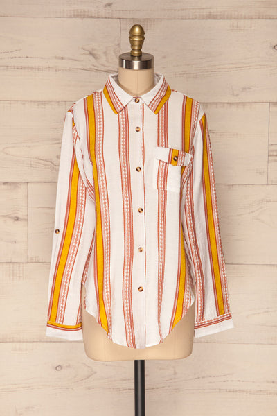 Jordanow White Colorful Striped Button-Up Shirt | La Petite Garçonne front view