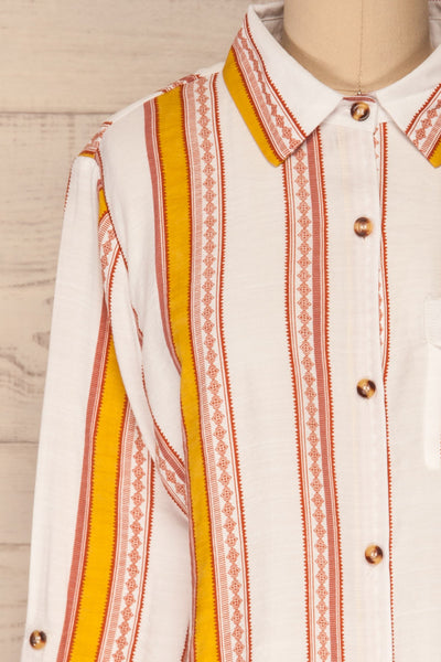 Jordanow White Colorful Striped Button-Up Shirt | La Petite Garçonne front close-up