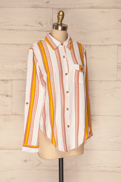 Jordanow White Colorful Striped Button-Up Shirt | La Petite Garçonne side view