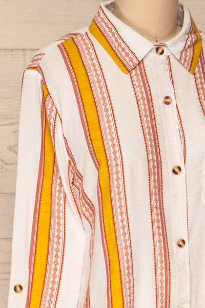 Jordanow White Colorful Striped Button-Up Shirt | La Petite Garçonne side close-up