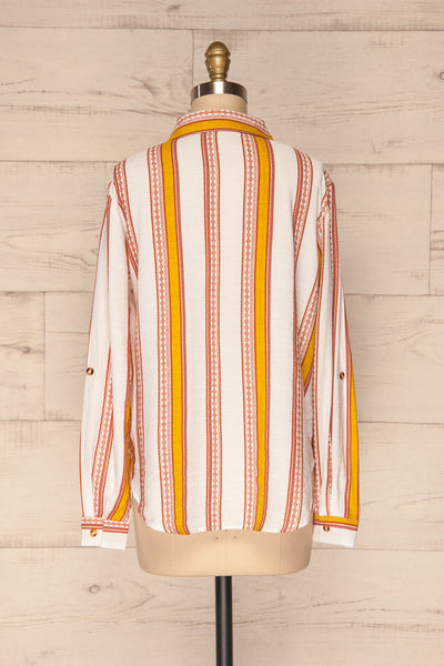 Jordanow White Colorful Striped Button-Up Shirt | La Petite Garçonne back view