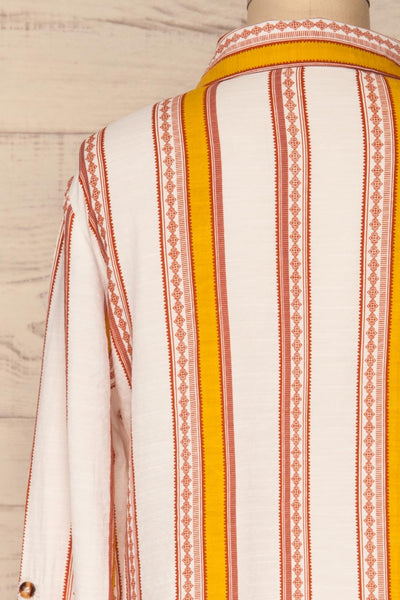Jordanow White Colorful Striped Button-Up Shirt | La Petite Garçonne back close-up