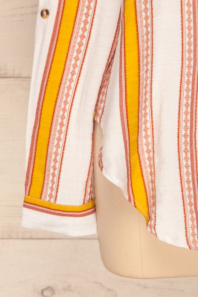 Jordanow White Colorful Striped Button-Up Shirt | La Petite Garçonne bottom close-up