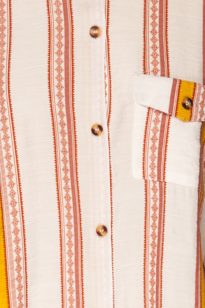 Jordanow White Colorful Striped Button-Up Shirt | La Petite Garçonne fabric detail