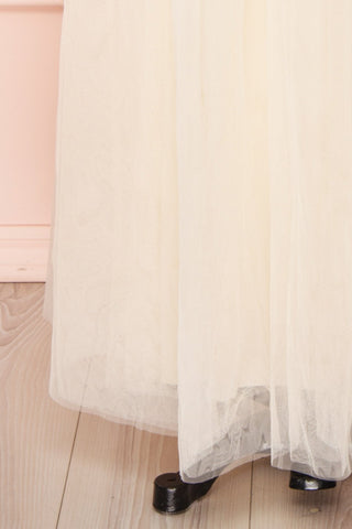 Josiane Beige Tulle A-Line Gown | Robe Maxi skirt close up | Boutique 1861
