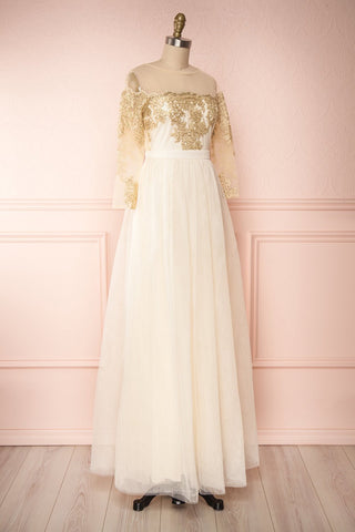 Josiane Beige Tulle A-Line Gown | Robe Maxi side view | Boutique 1861